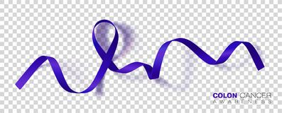 Mes de la conciencia del cáncer de colon Cinta azul marino del color aislada en fondo transparente Cáncer colorrectal Modelo del  ilustración del vector