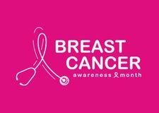 Mes de la conciencia del cáncer de pecho con el estetoscopio blanco formado como símbolo de la cinta en diseño rosado del vector  stock de ilustración