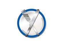 Mes en vork 2 van de plaat Stock Foto's