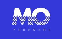 MES M O Dotted Letter Logo Design con el fondo azul Foto de archivo libre de regalías