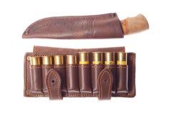Mes met munitie voor de jacht Royalty-vrije Stock Afbeelding