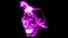 Mes in schedel met het licht van de laseranimatie stock illustratie