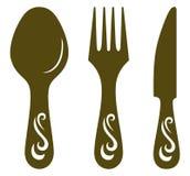 Mes, vork en lepel Stock Afbeelding
