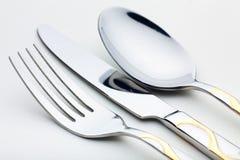 Mes, vork, lepel Royalty-vrije Stock Foto's