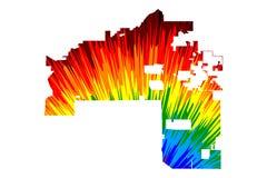 Mesa城市美国,美国,U S 美国,美国城市,美国城市地图是五颜六色被设计的彩虹的摘要 库存例证