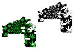 Mesa城市-地图是被设计的大麻叶子 库存例证