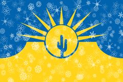 Mesa,亚利桑那冬天雪花旗子背景 美国状态团结了 库存例证