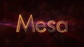 Mesa -发光的使成环的城市名字文本动画 向量例证