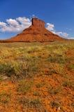 MESA alta di rosso con le piante del deserto nella priorità alta e nel cielo blu, Utah, U.S.A. Immagini Stock Libere da Diritti
