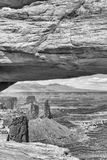 Mesa Arch with Canyonlands National Park landscape on background. Utah Stock Photography