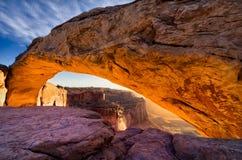 Mesa Arch, Canyonlands National Park, Utah. Iconic arching rock formation at dawn near Moab, Utah Stock Photos