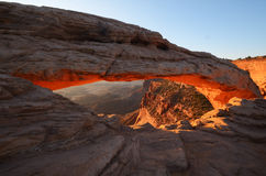 Mesa Arch Glowing at Sunrise Royalty Free Stock Image