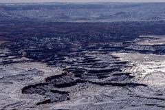 Canyonlands National Park in Winter. From Mesa Arch, in the Island in the Sky district of Canyonlands National Park Stock Image