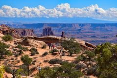 Mesa Arch in Canyonlands National Park, Utah. Mesa Arch is a pothole arch in Canyonlands National Park, Utah. Impressive landscape contains rugged canyon country Royalty Free Stock Photo