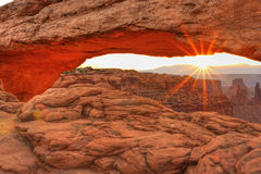 Mesa Arch Sunrise Flare Stock Photo