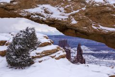 Mesa Arch in Winter. A short hike leads to Mesa Arch, in the Island in the Sky District of Canyonlands National Park, Utah stock photos