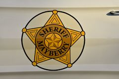 Sheriff of Mayberry decal. MESA, ARIZONA, February 5, 2018: The Sheriff of Mayberry decal on a 64 Ford Galaxy car commemorates the televison show of Andy stock photos