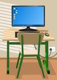 Mesa, cadeira e um computador ilustração royalty free