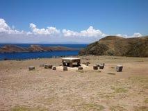 Mesa-ceremoniel på isla del solenoid på lagotiticacaen royaltyfri foto