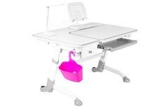 Mesa cinzenta da escola, cesta cor-de-rosa e lâmpada de mesa Imagem de Stock Royalty Free