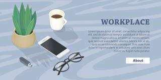 Mesa com telefone celular, vidros, movimentação do flash da planta Fotos de Stock Royalty Free