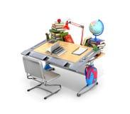 Mesa da escola com livros e fontes de escola ilustração royalty free