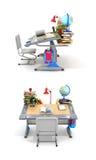 Mesa da escola com livros e fontes de escola ilustração stock