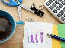 A mesa da tabela do escritório com grupo de fontes coloridas, almofada de nota vazia branca, copo, pena, PC, amarrotou o papel, f foto de stock royalty free