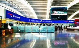 Mesa de British Airways no terminal 5 de Heathrow Imagem de Stock Royalty Free