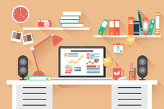 Mesa de escritório domiciliário - projeto liso, sombra longa, mesa do trabalho ilustração royalty free