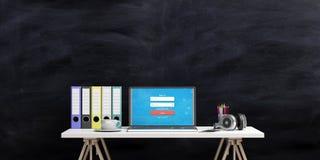 Mesa de escritório em um fundo do quadro-negro ilustração 3D Foto de Stock