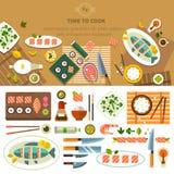 Mesa de jantar com pratos Fotos de Stock Royalty Free