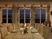 Mesa de jantar nórdica com a decoração do Natal na noite rendição 3d Fotografia de Stock