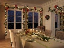 Mesa de jantar nórdica com a decoração do Natal na noite rendição 3d Imagem de Stock Royalty Free