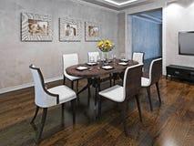 Mesa de jantar oval para seis pessoas Fotos de Stock
