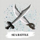 Mesa de la batalla naval del cartel o juego educativo móvil Vector Foto de archivo libre de regalías
