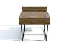 Mesa de madeira da escola do vintage fotografia de stock