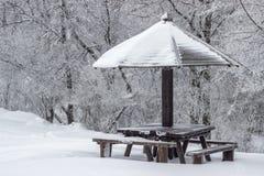 Mesa de picnic de madera con el paraguas de madera en el invierno 2 Foto de archivo libre de regalías
