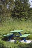 Mesa de picnic del metal Fotografía de archivo