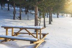 Mesa de picnic dentro del parque con nieve en Erzurum, Turquía imagenes de archivo