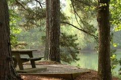 Mesa de picnic por un lago fotos de archivo libres de regalías