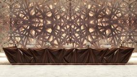 Mesa de recepção na frente da parede decorativa do ferro Imagens de Stock Royalty Free
