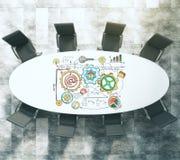 Mesa de reuniones con concepto del esquema del negocio Fotografía de archivo