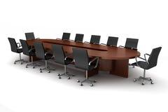 Mesa de reuniones de Brown con las sillas negras aisladas Imagenes de archivo