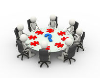 mesa de reuniones de la reunión de negocios de la gente 3d Imagen de archivo libre de regalías