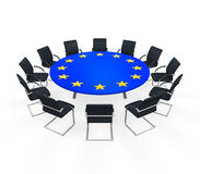 Mesa de reuniones redonda de la unión europea Fotos de archivo libres de regalías