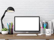 Mesa de trabalho do sótão fácil com imagem vazia da rendição da tela de monitor 3d do computador Fotos de Stock Royalty Free