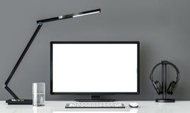 Mesa de trabalho preto e branco do estilo mínimo com imagem cinzenta da rendição da parede 3d Imagem de Stock Royalty Free