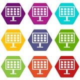 Mesa del ordenador con el hexahedron determinado del color del icono de las carpetas Fotografía de archivo