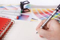 Mesa do desenhador gráfico Fotografia de Stock